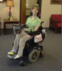 Brantley with computer mount and modified joystick at Voc Rehab 4-24-09 Thumbnail
